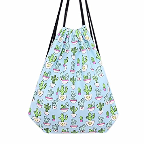 saingacer-women-cactus-drawstring-beam-port-backpack-shopping-bag-travel-bag-light-blue