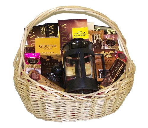Godiva Coffee Lovers French Press & Godiva Chocolates Gourmet Gift Basket
