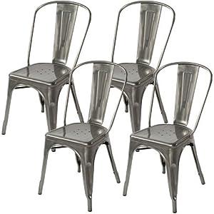 lemoderno galvanized steel side chair 4 gun. Black Bedroom Furniture Sets. Home Design Ideas
