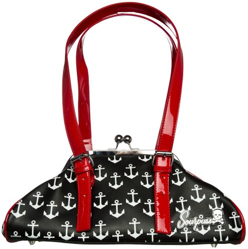 Black with White Anchors Galley Ho Purse from Sourpuss Clothing