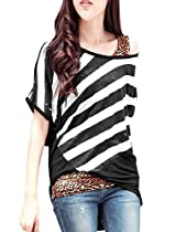 Lady Round Neck Batwing Sleeve Bar Striped Patchwork Top