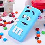 Et 3d Cute Cartoon Milk Chocolate Bean M&m Figer Bean Soft Silicone Back Case Cover Skin for Apple Iphone 5/5s/5g (Blue)
