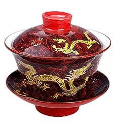 Moyishi Chinese Porcelain Gaiwan Nice Red Dragon Tradition Sancai Tea Cup Tea Set Best Gift by Moyishi