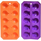 Skeleton Skull & Pumpkin Halloween Plastic Ice Cube Trays Jello Mold - Set of 2