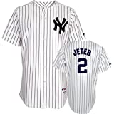 Derek Jeter Jersey: Youth Majestic Home White Pinstripe Replica #2 New York Yankees Jersey by Majestic
