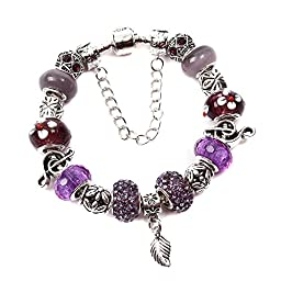 Samonica Silver European Charm Bracelets for Women with Copper Snake Chain Crystal Rhinestones Beads Murano Glass Beads Charm Beads and Leaf Jewelry Findings Wedding Gift Christmas Gift Birthday Gift Party Charmas Bracelets(purple 21cm)