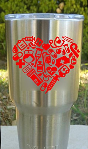 Nurse's or Doctor's Heart - Heart Shaped Medical Items Decal for your Insulated YETI Travel Mug (Yeti Cooler Emblem compare prices)