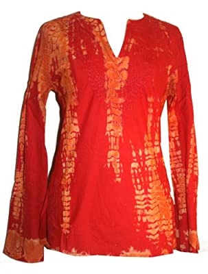 TD-09 AGAN TRADERS TIE DYE SUMMER SEXY LIGHT WEIGHT COTTON LUCKNOW CHICKAN EMBROIDERED TOP BLOUSE KURTA RED YELLOW S/M