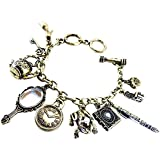 DaisyJewel Steampunk Victorian Frog Prince Vintage Patina Charm Bracelet with 11 Charms
