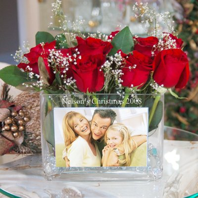 Raebella New York'S Personalized Family Christmas Glass Photo Vase Engraved Gift Favor back-654546