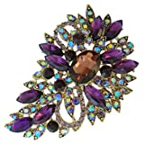 EVER FAITH Vintage Inspired Flower Teardrop Purple Austrian Crystal Bouquet Brooch A02600-46
