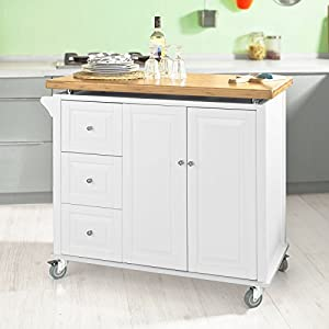 Sobuy fkw30 wn desserte sur roulettes meuble chariot de - Meuble sur roulette cuisine ...