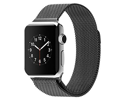 HappyCell Milanese Loop Apple Watch Band, Black Stainless Steel Replacement Watchband Strap Wrist Band with Adapter for Apple Watch & Sport & Edition