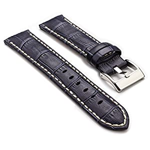 StrapsCo Premium Blue Croc Embossed Leather Watch Strap size 22mm
