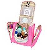 SunKni Cosmetic Travel Bag Makeup Organizer Bathroom Storage Tote Zipper Pouch Drawer Dividers Hanging Toiletry...