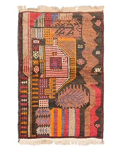 Hand-Knotted Tora Bora Wool Rug, Black/Light Orange, 2' 10 x 4' 4 Runner
