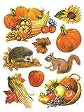 Fensterbild Set 9-tlg. Herbstfrüchte Igel Eichhörnchen Füllhorn Kürbis statisch selbsthaftend