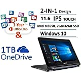 2017 Newest ASUS Transformer Book Flip 11.6 Touch 2 In 1 Laptop Tablet (Intel Dual Core Up To 2.16 GHz, 2GB DDR3, 32GB EMMC, 802.11ac, Bluetooth, Windows 10) With 1-year Office 365 Personal
