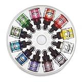 Dr. Ph. Martin's Bombay India Ink (Set 1) Ink Set, 1.0 oz, Set 1 Colors, 1 Set of 12 Bottles (Color: Set 1 Colors, Tamaño: 1.0 oz)