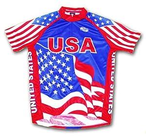 U.S. USA Flag Cycling Jersey Mens Short Sleeve by Suarez by Suarez