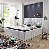 Luxus Polsterbett mit Bettkasten Nelly XXL 160x200 cm Kunslederbett Doppelbett Ehebett Weiß