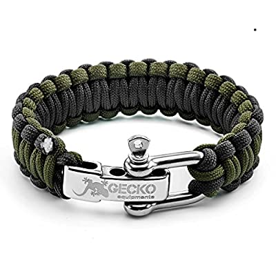 """Gecko Equipment Army Green/Black King Cobra Paracord Survival Bracelet with Adjustable Stainless Steel D Shackle - Suitable for 7""""-8"""" Wrists - 100% SATISFACTION GUARANTEE & LIFETIME WARRANTY"""