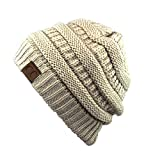 Unisex Trendy Warm Chunky Soft Stretch Cable Knit Slouchy Beanie Skully-HAT20A-Beige