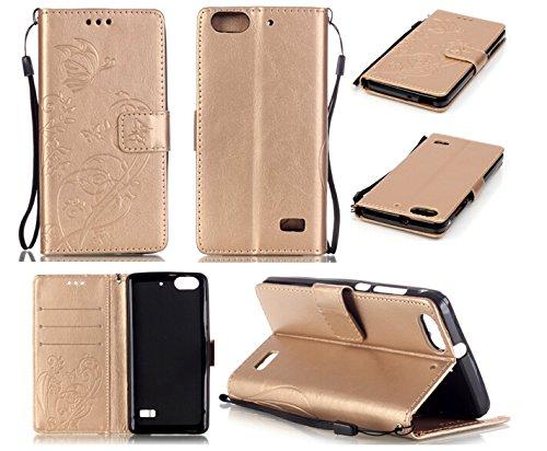 Camiter Prägung Schmetterling Wallet Case Schutzhülle Standfunktion Handytasche Hülle Magnetverschluss Klapp Brieftasche Lederhülle Weich Silikon Skin Back Cover für Huawei Honor 4C /Huawei G Play Mini (Gold)