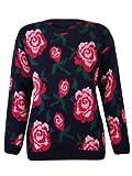 WOMENS MULTI ROSE FLOWER LEAVES KNITTED LADIES LONG SLEEVE JUMPER SWEATER TOP