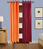 Indian Online Mall Plain Door Curtain (Pack of 2) - Orange and Maroon