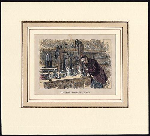 Antique Print-Louis Pasteur-Microscope-Laboratory-Adrian Marie-1870