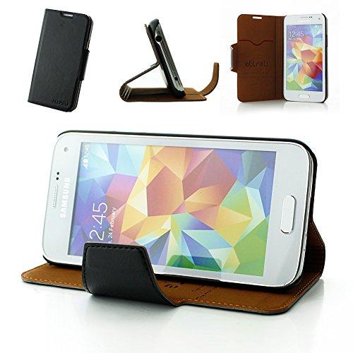 Galaxy S5 Mini Case, Allreli® [Stand Feature] [Ultra Slim] Samsung Galaxy S5 Mini Case Flip Cover [Black] Premium Leather (Pu) Smart Protective Magnetic Wallet Folio Flip Case For Galaxy S5 Mini Sm-G800 Smartphone