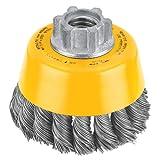 DEWALT DW4910 Cepillo de copa anudada de 3 pulgadas por 5/8 pulgada-11 / acero al carbono .020 pulgadas