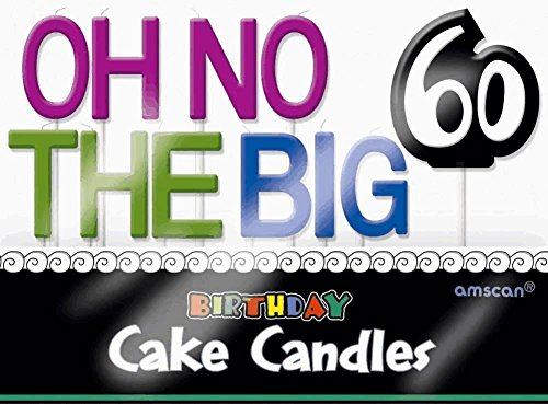 "Amscan Printed with ""Oh No I'M 60"" Fun Message Candle, Purple/Green/Blue, 3"" - 1"