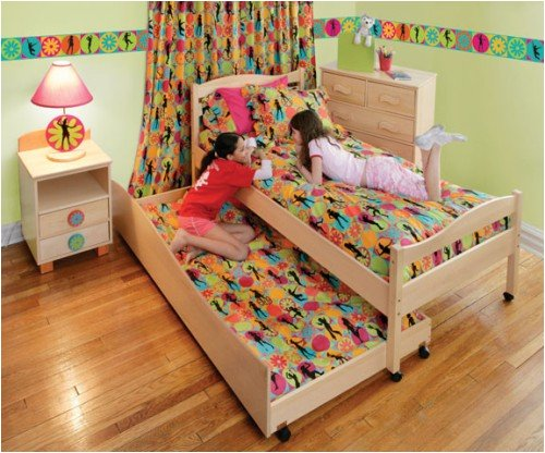 Flower Power Girls Wooden Twin Sized Bed