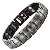 Willis Judd Men's Four Element Gunmetal Titanium Double Row Magnetic Bracelet Adjustable