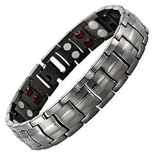 Willis Judd New Four Element Gunmetal Titanium Magnetic Bracelet In Black Velvet Gift Box & Free Link Removal Tool