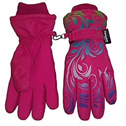 N\'Ice Caps Little And Big Girls Ombre Shaded Scroll Print Ski Gloves (5-6yrs, fuchsia/neon green/neon blue/lavender/neon purple)