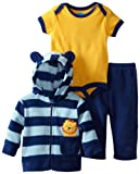 BON BEBE Baby-boys Newborn Lion Micro Fleece 3 Piece Hooded Jacket Set, Multi, 3-6 Months