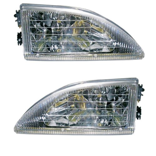 1994-1998 Ford Mustang Cobra Headlights Headlamps Head Lights Lamps Pair Set: Left Driver AND Right Passenger Side (1994 94 1995 95 1996 96 1997 97 1998 98) (Mustang Cobra Headlights compare prices)