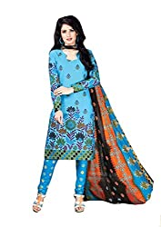 Vedant Vastram Woman's Cotton Printed Unstitched Dress Material (Turquoise & Blue Colour)