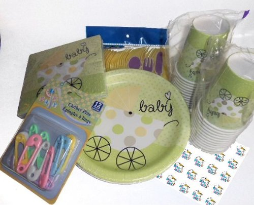 Unisex Baby Shower Party Supplies Green & Yellow - Plates, Napkins, Silverware, Cups, Decoration And 54 Matching Hershey Kiss Labels