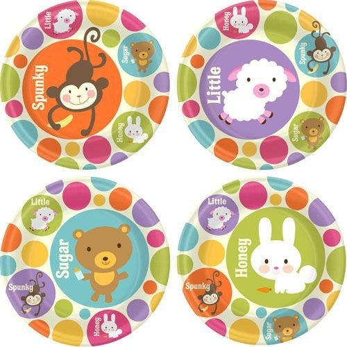 "Baby Animal Dots Baby Shower 9"" Lunch Plates 8 Pack"