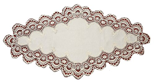 Your Hearts Delight Elegant Lace Table Runner, 19 by 34-Inch, Ivory/Damask