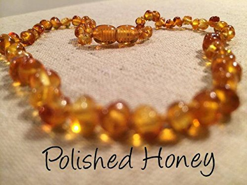 Certified Authentic, Baltic Amber Teething Necklace for Babies and Toddlers Polished Honey with Screw in Clasp. Anti-inflammatory, Reduction of Drooling, Red Cheeks, Teething Pain. Baby, Infant, and Toddlers will all benefit. Soothing quality, Highest Quality, 100% Satisfaction Guaranteed - 1