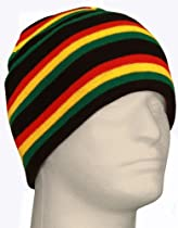 Black, Green, Yellow and Red Multi Colored Rasta Color Striped Long Cuff Beanie