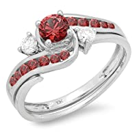 0.90 Carat (ctw) 10k White Gold Round Red Ruby And White Diamond Ladies Swirl Bridal Engagement Ring Matching Band Set by DazzlingRock