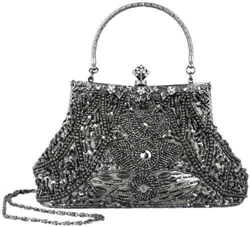 Exquisite Gray Seed Bead Sequined Leaf Evening Handbag, Clasp Purse Clutch w/Hidden Handle