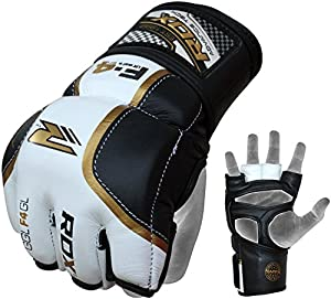 RDX Cow Hide Leather Grappling MMA Gloves Cage UFC Fighting Sparring Glove Training F4GL