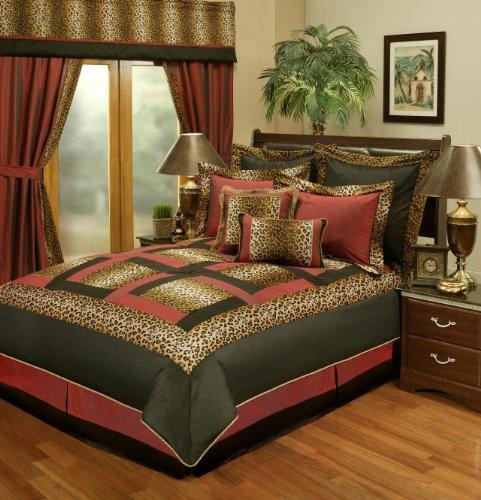 Sherry Kline Jungle Passage Cheetah Comforter Set, Queen,Red/Black, 8 Piece front-1016010